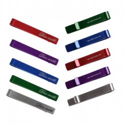 DTD01.01 Business- Casual Set of 5 Colors & 2 Sizes Metallic Tie Clips - 10 Pcs By Dan Smith