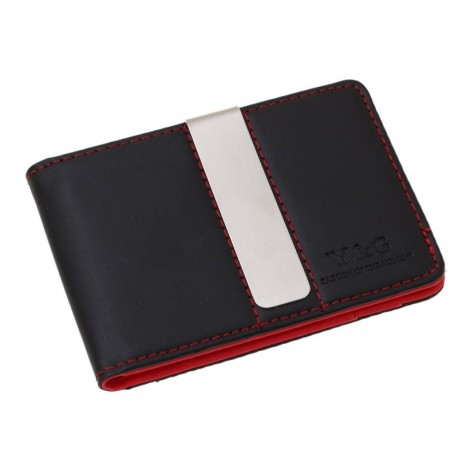 YCM13A01 Red Black Mens Synthetic Leather Wallet Husband Presents with Stainless Steel Money Clip Birthday Presents Idea By Y&G