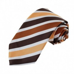 EAAA Brown Orange Striped Microfiber Male Ties Happy For Boss Neck Tie By Epoint