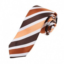 EAEA Brown Orange Striped Microfiber Thin Neck Ties Gift For Pretty Skinny Tie By Epoint