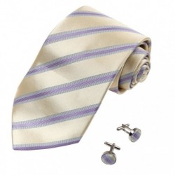 YAB2A05 Multicolor Gift Idea For New Year's Day Stripe Tie Set 2PT By Y&G