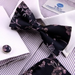 EBC1B07 Creative Gifts Patterned Silk Pre-tied Bowtie Cufflinks Hanky By Epoint
