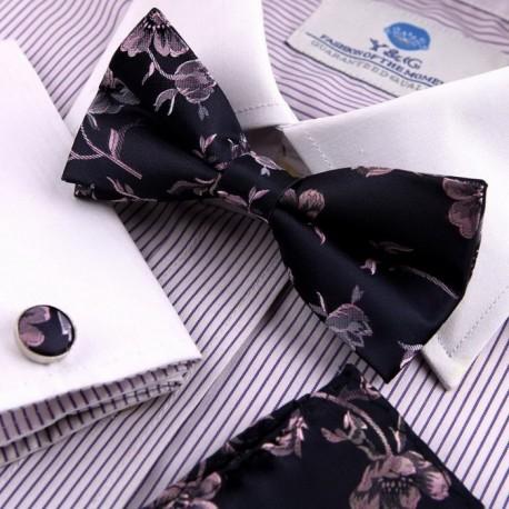 EBC1B07 Creative Gifts Patterned Silk Pre-tied Bowtie Cufflinks Hanky By Epoint