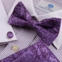 EBC1B09 Best Patterned Silk Pre-tied Bowtie Cufflinks Hanky Business By Epoint