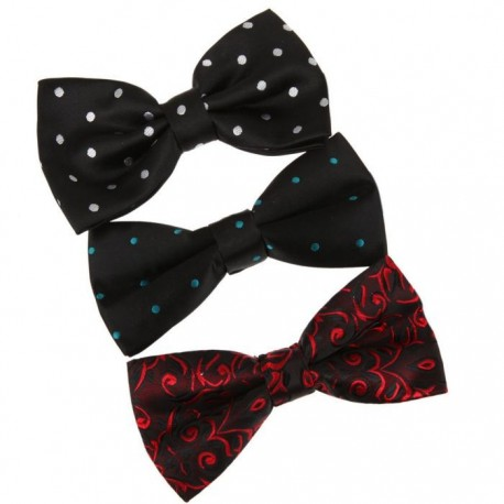 DBE01.04 Multi-colors Poly Pre-Tied Bowtie for Wedding 3 Pack Set Dan Smith