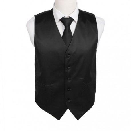 DGDE0001 Black Solid Microfiber Satin For Working Vest Tie Set By Dan Smith