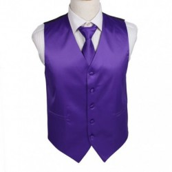 DGDE0002 Dark Violet Plain Microfiber Tuxedo Vest For Wedding and Neck Tie By Dan Smith